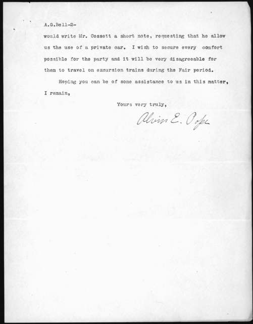 Letter from Alvin E. Pope to Alexander Graham Bell, September 2, 1903