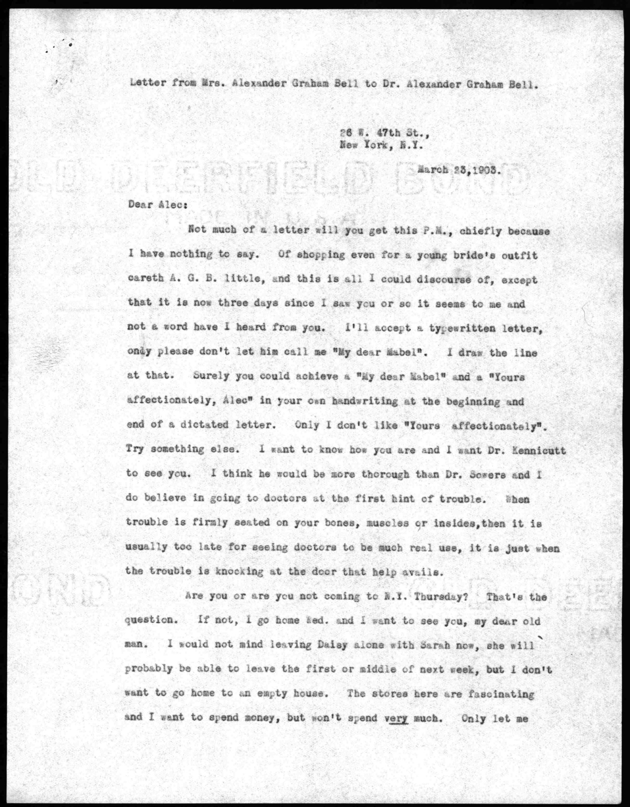 Letter from Mabel Hubbard Bell to Alexander Graham Bell, March 23, 1903