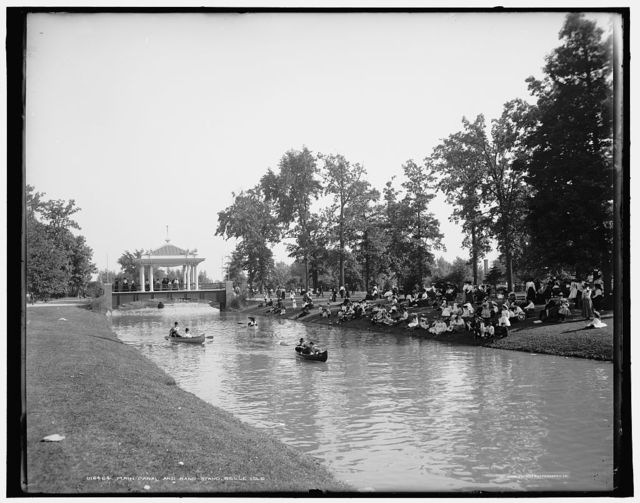 Main canal and band-stand, Belle Isle