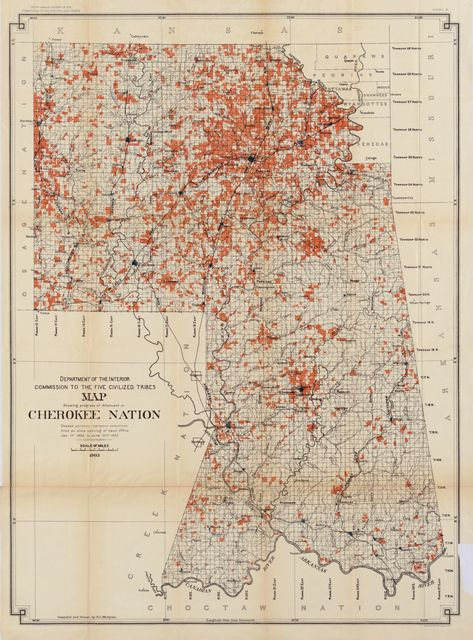 Map showing progress of allotment in Cherokee Nation /