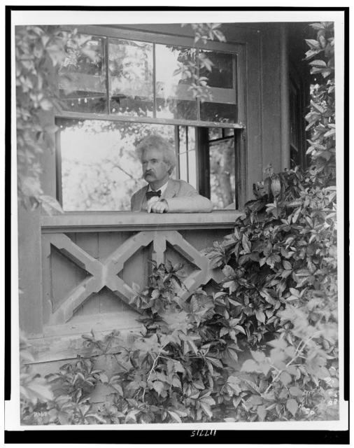[Mark Twain, head-and-shoulders portrait, facing left, looking out window] / T.E. Morr.