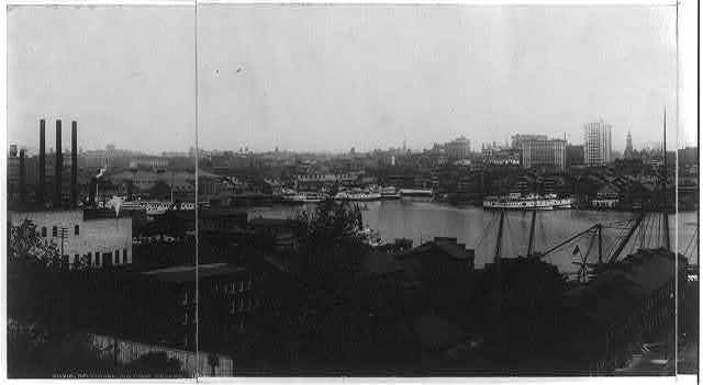 [Maryland - Baltimore - harbor and waterfront from Federal Hall (or Hill?), left center of panorama]