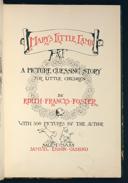 Mary's little lamb: a picture guessing story for little children