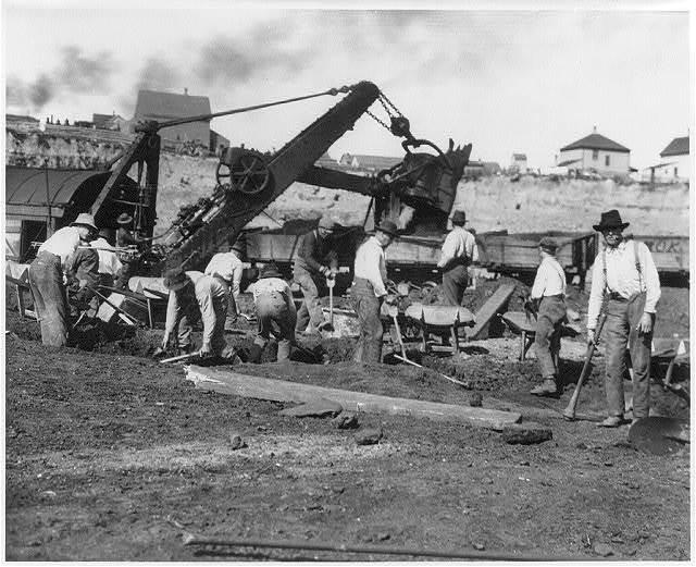 [Miners at work on the Mesabi Range in northeast Minnesota]