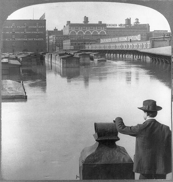"""[Mo. - Kansas City - """"Freight yards and great implement warehouses during the Flood, 1903""""]"""