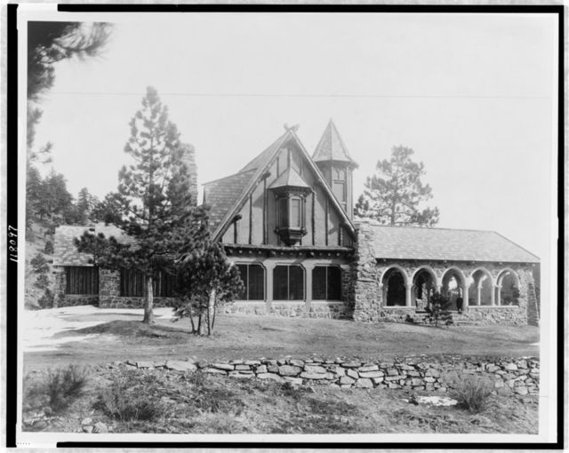 Mountain lodge of Mrs. Paul T. Mayo, Bear Creek Cañon, Rocky Mountains, Colorado--West elevation