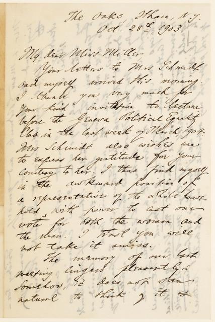 Nathaniel Schmidt to Anne Fitzhugh Miller, October 28, 1903