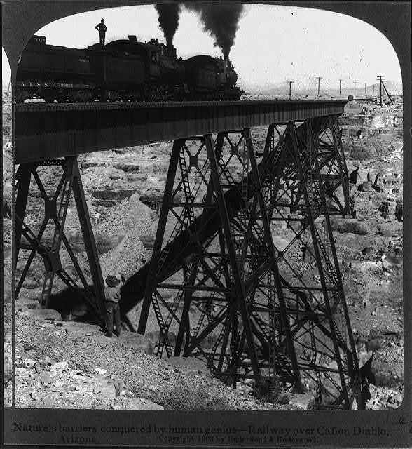 Nature's barriers are conquered by human genius - railway over Cañon Diablo, Arizona