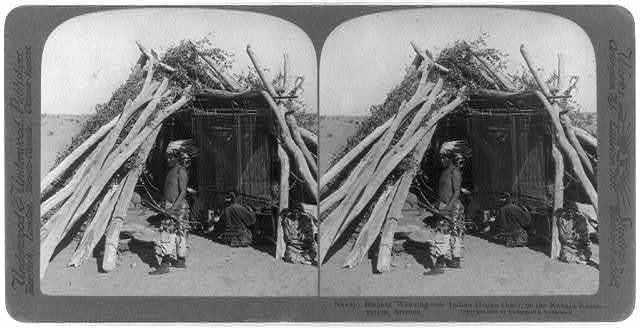 Navajo Blanket Weaving - an Indian Hogan (hut), on the Navajo Reservation, Arizona