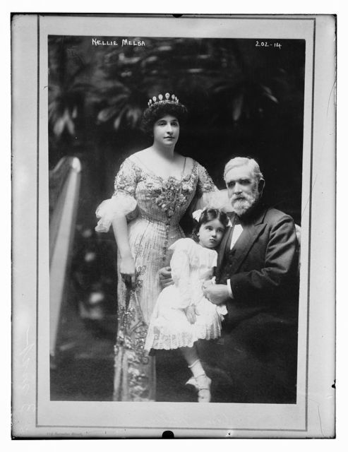 Nellie Melba, her father, David Mitchell, and a young girl (Nellie's niece, Nellie Paterson), in Melbourne, Australia