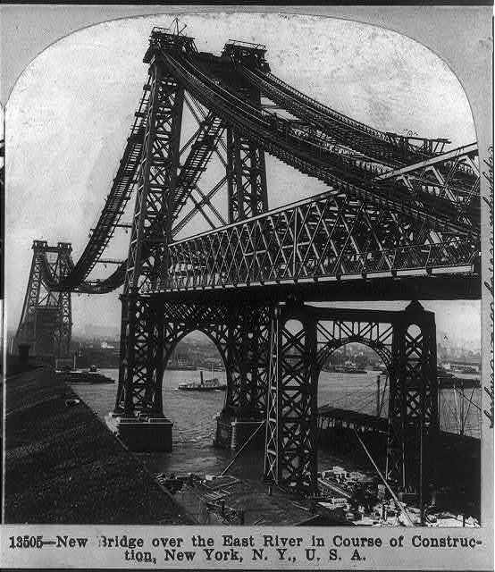 New bridge over the East River in course of construction, New York, N.Y.