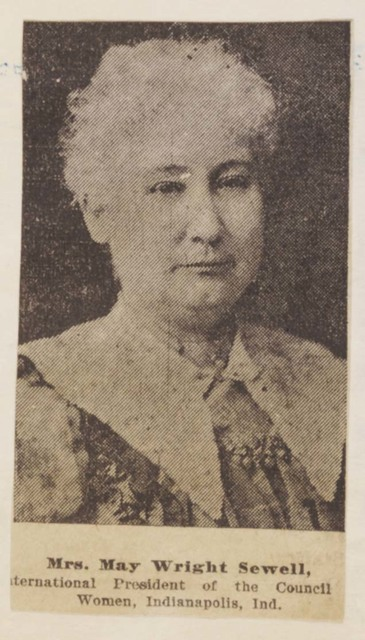 Newspaper photograph of May Wright Sewell, President, International Council of Women