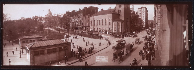 [One panoramic photo of Park St. Station, showing Park St. Church and State House in distance, Boston, Mass.]