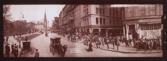 [One panoramic photo of Tremont St., showing Shreve, Crump and Low's McCarthy's store and the end of West St., Boston, Mass.]