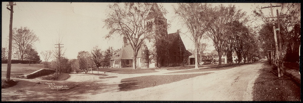 [One panoramic photo street scene in Andover, Mass. showing church in foreground]