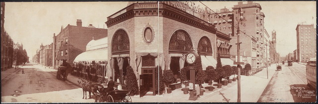 [Panoramic photograph of Galvin's store with view of Fairfield Street and Boylston Street]