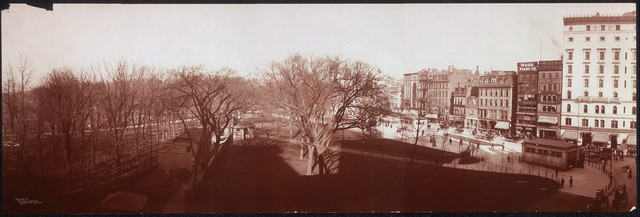 Panoramic view from Colonial Theatre of Boston Common showing State House dome in distance and Tremont Street