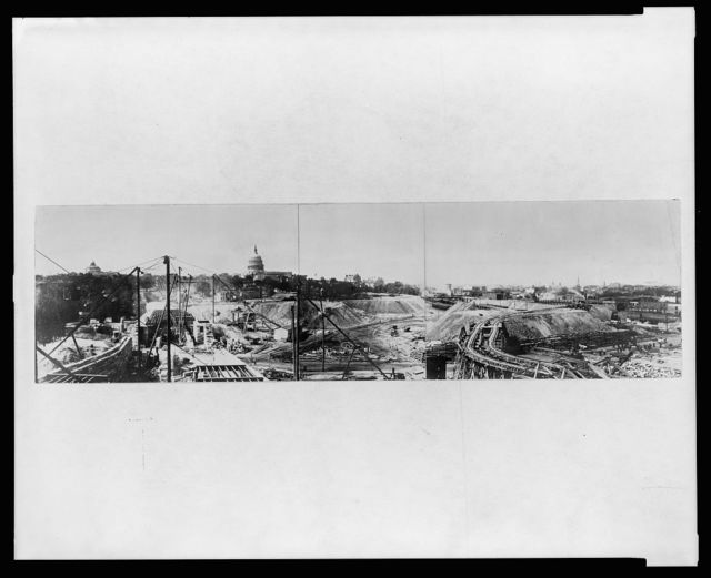 [Panoramic view of the construction site and equipment during the building of Union Station, Washington, D.C.]