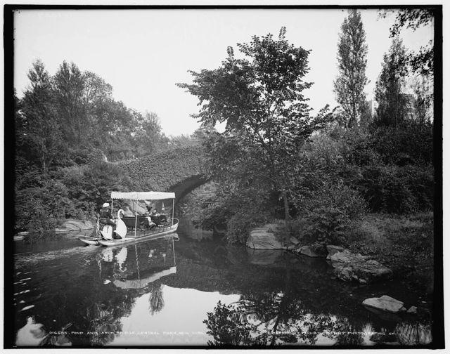 Pond and arch bridge, Central Park, New York