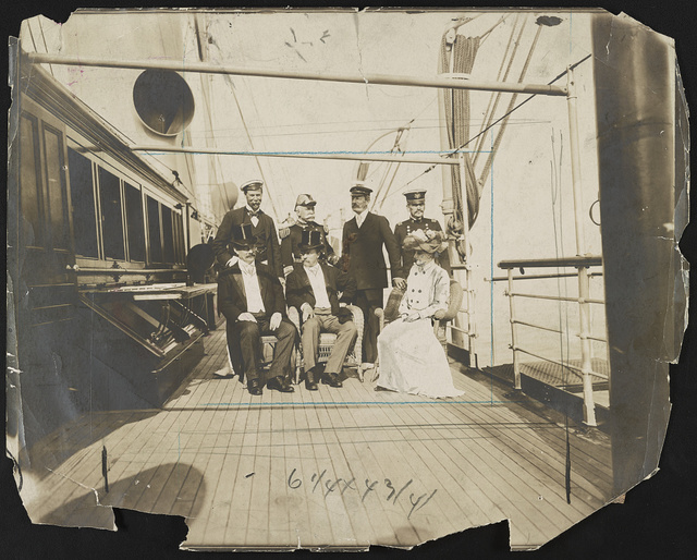 President Roosevelt and his guests on board the Mayflower