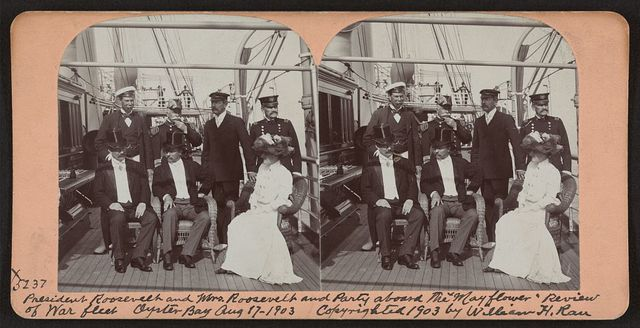 """President Roosevelt and Mrs. Roosevelt and party aboard the """"Mayflower,"""" review of war fleet, Oyster Bay, Aug. 17, 1903"""
