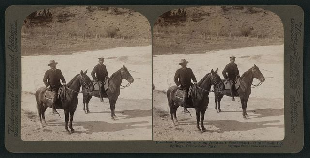 President Roosevelt entering America's wonderland - at Mammoth Hot Springs, Yellowstone Park