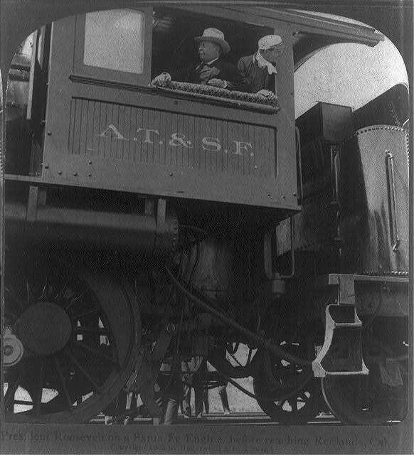 President Roosevelt on a Santa Fe engine, before reaching Redlands, Cal.