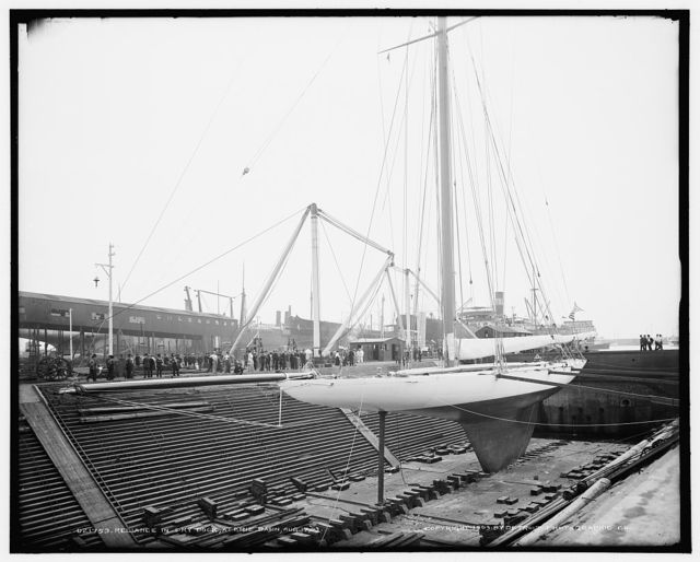 Reliance in dry dock at Erie Basin, Aug. 17, 1903