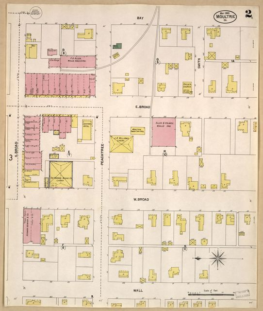 Sanborn Fire Insurance Map from Moultrie, Colquitt County, Georgia.