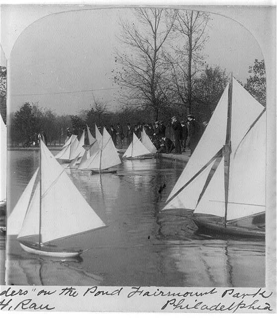 "Start of the race - Miniature ""defenders"" [toy sailboats] on the pond, Fairmount Park, Philadelphia"