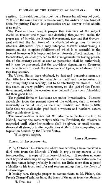 State papers and correspondence bearing upon the purchase of the territory of Louisiana.