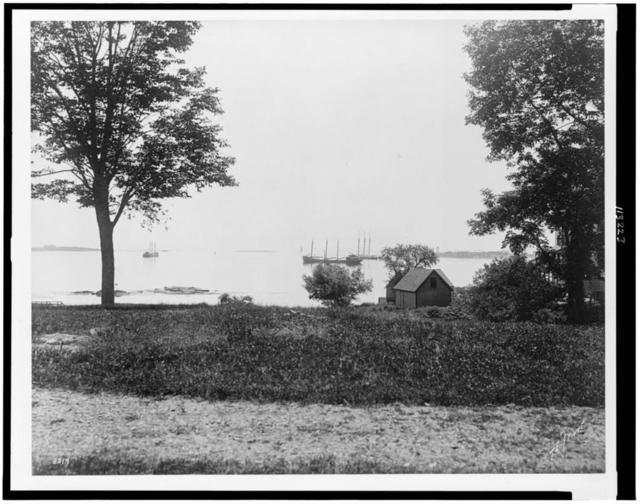 [Structures on shore at William Dean Howells' summer estate, Kittery, Maine] / T.E. Mort(?)