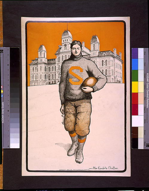 [Syracuse football player, full-length, standing, facing front, with Syracuse University behind him] / Mae Goodelle Chaffee.