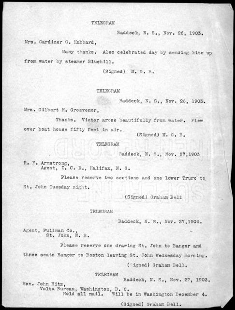 Telegrams, from November 26, 1903 to November 27, 1903