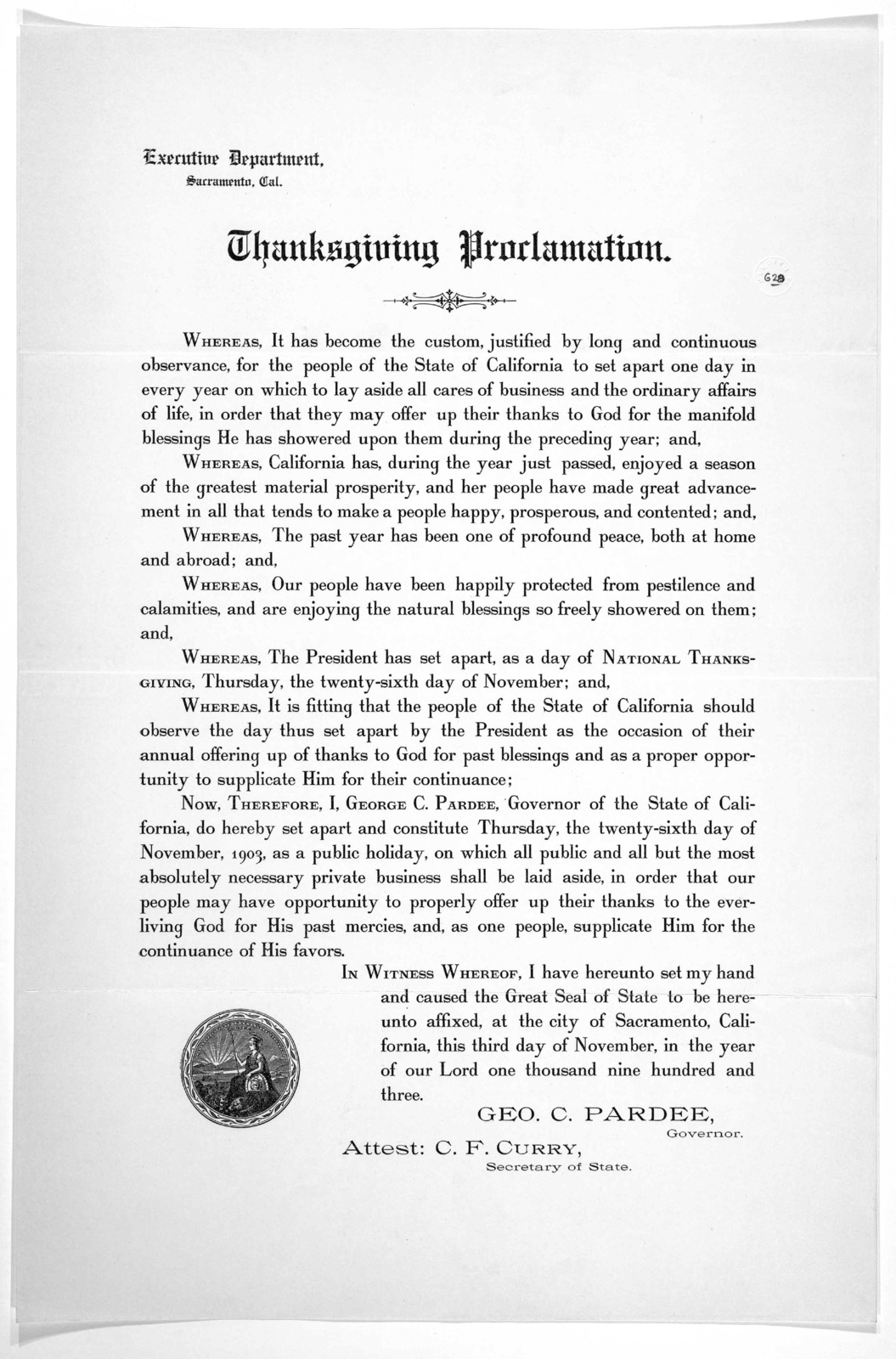 Thanksgiving proclamation November 3, 1903.