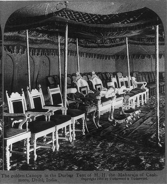 The golden canopy in the Durbar tent of H.H. the Maharaja of Cashmere, Delhi, India
