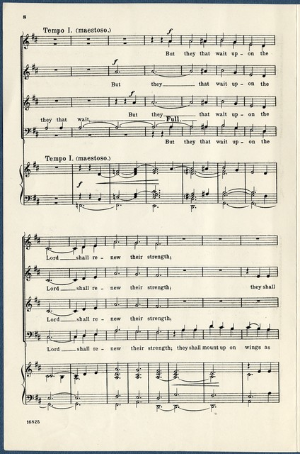"""""""They that wait upon the Lord"""" Isaiah XL, 28-31 : anthem for baritone solo and chorus of mixed voices (soprano I, II, alto, tenor, bass I, II) with organ accompaniment"""