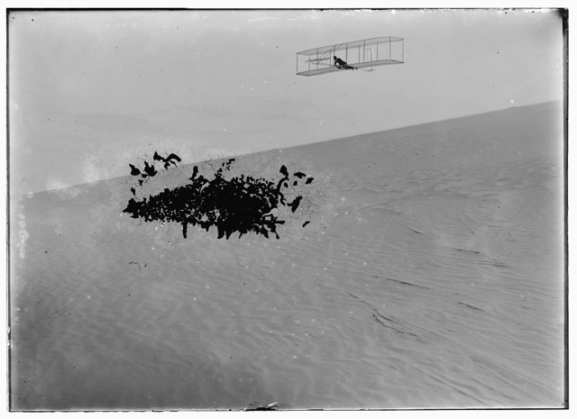 [Three-quarter right front view of Wright glider descending from Big Hill. One of four photographs of gliding activities taken on October 27, 1903, when Wilbur and Orville each made two glides]
