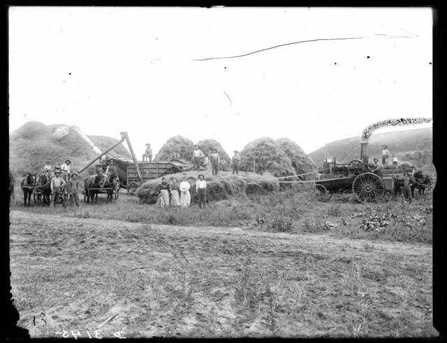 Threshing crew on farm of E.F. Hanneman, Watertown, Buffalo County, Nebraska.
