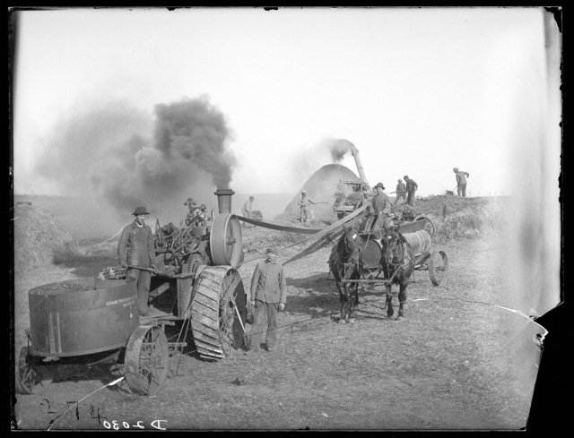 Threshing on the Fred Rosso farm in Hall County, Nebraska.