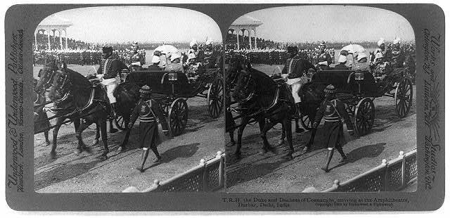 T.R.H. the Duke and Duchess of Connaught, arriving at the Amphitheatre, Durbar, Delhi, India