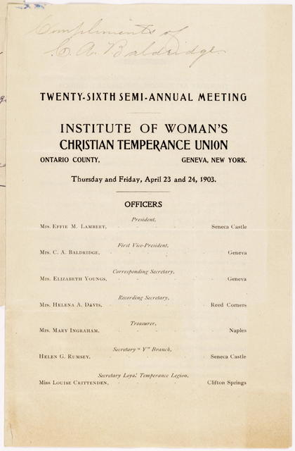 Twenty-Sixth Semi-Annual Meeting, Institute of Woman's Christian Temperance Union, Ontario County, Geneva, New York