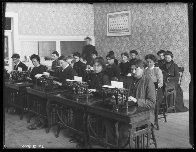 Typing class in session at Broken Bow College.