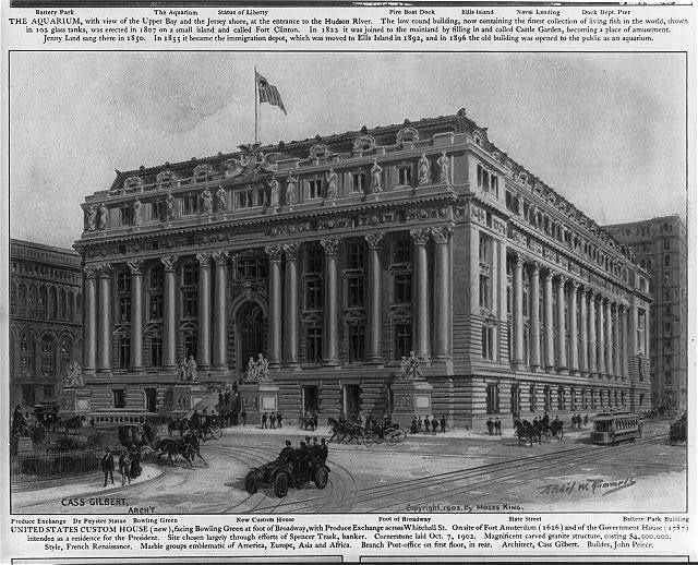 United States Custom House (new), facing Bowling Green at the foot of Broadway, with Produce Exchange across Whitehall St., New York City