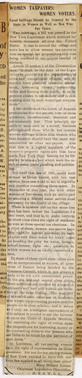 Women Taxpayers; Women Voters