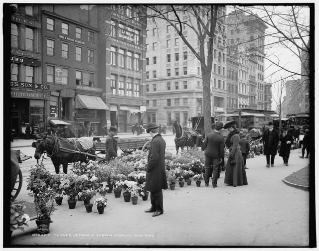 A Flower vender's [sic] Easter display, New York