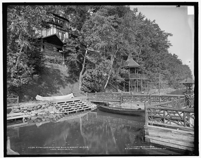 A Private dock and basin, Green Island, Lake George, N.Y.