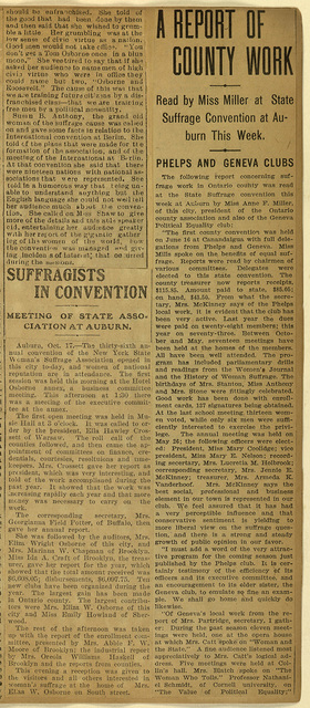A Report of County Work; read by Miss Miller at State Suffrage Convention at Auburn this week and Suffragists in Convention