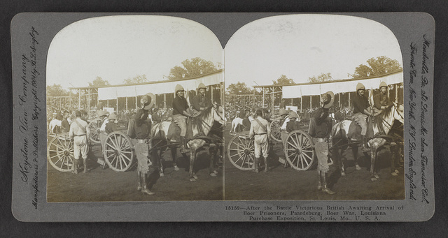 After the battle victorious British awaiting arrival of Boer prisoners, Paardeburg, Boer War, Louisiana Purchase Exposition, St. Louis, Mo., U.S.A.