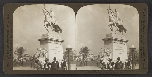 "Allegorical group, ""The Apotheosis of St. Louis"" and equestrian statue of St. Louis, Louisiana Purchase Exposition, St. Louis, U. S. A."